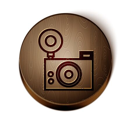 Brown line Photo camera icon isolated on white background. Foto camera icon. Wooden circle button. Vector Illustration