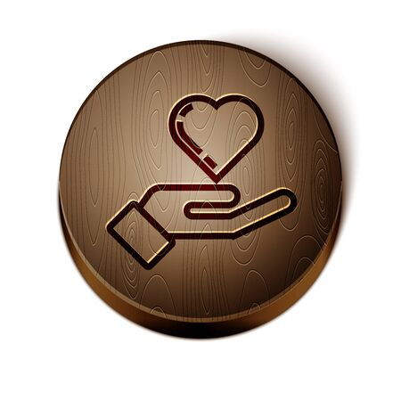 Brown line Heart on hand icon isolated on white background. Hand giving love symbol. Wooden circle button. Vector Illustration