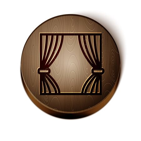 Brown line Curtain icon isolated on white background. For theater or scene backdrop, concert grand opening or cinema premiere. Wooden circle button. Vector Illustration