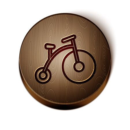 Brown line Vintage bicycle with one big wheel and one small icon isolated on white background. Bike public transportation sign. Wooden circle button. Vector Illustration