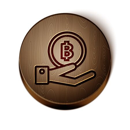 Brown line Hand holding Bitcoin icon isolated on white background. Blockchain technology, digital money market, cryptocoin wallet. Wooden circle button. Vector Illustration 일러스트