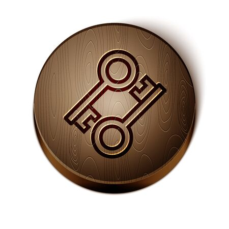 Brown line Cryptocurrency key icon isolated on white background. Concept of cyber security or private key, digital key with technology interface. Wooden circle button. Vector Illustration Ilustração