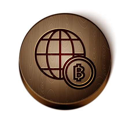 Brown line Globe and cryptocurrency coin Bitcoin icon isolated on white background. Physical bit coin. Blockchain based secure crypto currency. Wooden circle button. Vector Illustration