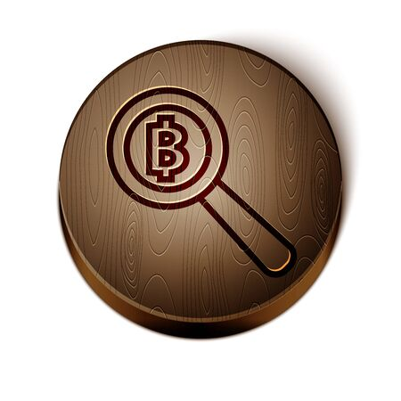 Brown line Magnifying glass with Bitcoin icon isolated on white background. Physical bit coin. Blockchain based secure crypto currency. Wooden circle button. Vector Illustration
