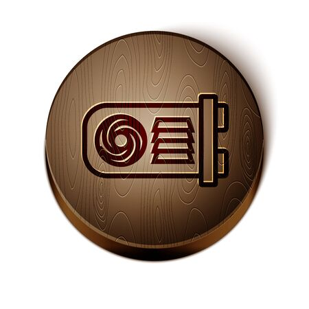 Brown line Mining farm icon isolated on white background. Cryptocurrency mining, blockchain technology, bitcoin, digital money market, wallet. Wooden circle button. Vector Illustration