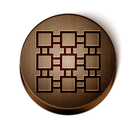 Brown line Blockchain technology icon isolated on white background. Cryptocurrency data. Abstract geometric block chain network technology business. Wooden circle button. Vector Illustration