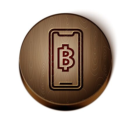 Brown line Phone mobile and cryptocurrency coin Bitcoin icon isolated on white background. Physical bit coin. Blockchain based secure crypto currency. Wooden circle button. Vector Illustration