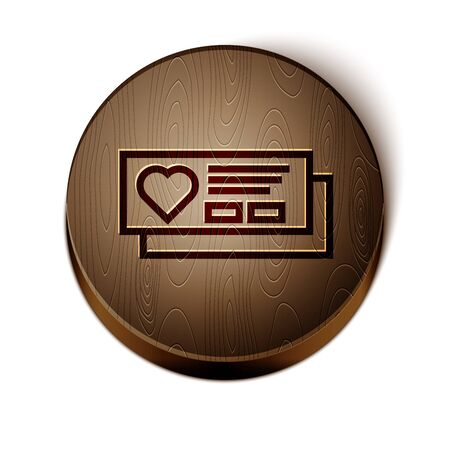 Brown line Ticket with heart icon isolated on white background. Boarding pass with heart. Wooden circle button. Vector Illustration