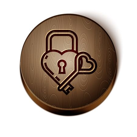 Brown line Castle in the shape of a heart and key icon isolated on white background. Locked Heart. Love symbol and keyhole sign. Wooden circle button. Vector Illustration Ilustração