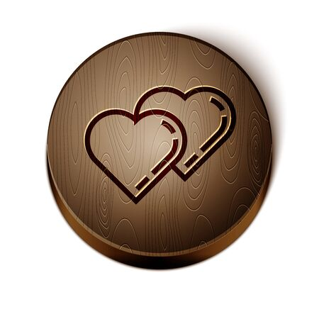 Brown line Two Linked Hearts icon isolated on white background. Romantic symbol linked, join, passion and wedding. Valentine day symbol. Wooden circle button. Vector Illustration Illustration