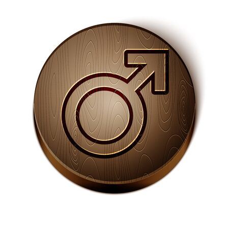Brown line Male gender symbol icon isolated on white background. Wooden circle button. Vector Illustration Ilustracja