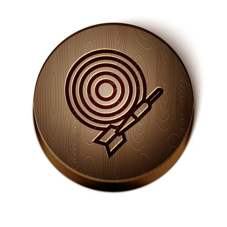 Brown line Classic dart board and arrow icon isolated on white background. Dartboard sign. Game concept. Wooden circle button. Vector Illustration Çizim
