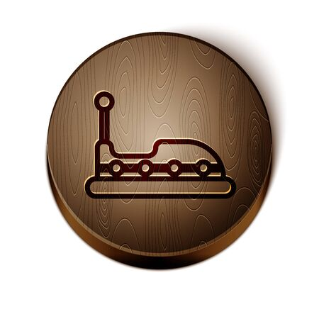 Brown line Bumper car icon isolated on white background. Amusement park. Childrens entertainment playground, recreation park. Wooden circle button. Vector Illustration Illustration