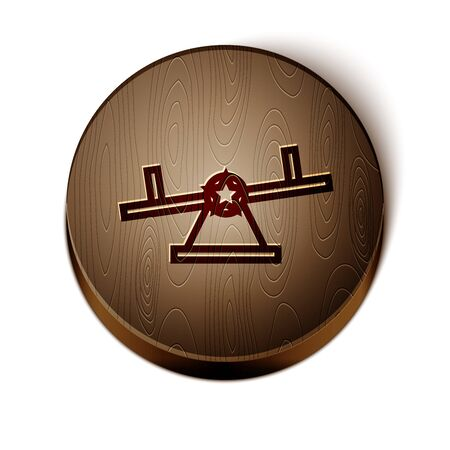 Brown line Seesaw icon isolated on white background. Teeter equal board. Playground symbol. Wooden circle button. Vector Illustration Illustration