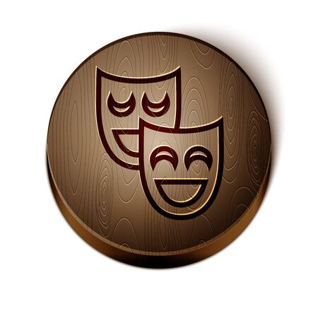 Brown line Comedy theatrical masks icon isolated on white background. Wooden circle button. Vector Illustration