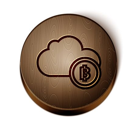 Brown line Cryptocurrency cloud mining icon isolated on white background. Blockchain technology, bitcoin, digital money market, cryptocoin wallet. Wooden circle button. Vector Illustration Çizim