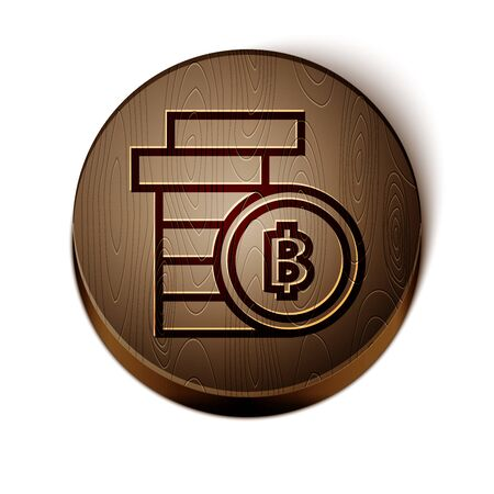 Brown line Cryptocurrency coin Bitcoin icon isolated on white background. Physical bit coin. Blockchain based secure crypto currency. Wooden circle button. Vector Illustration