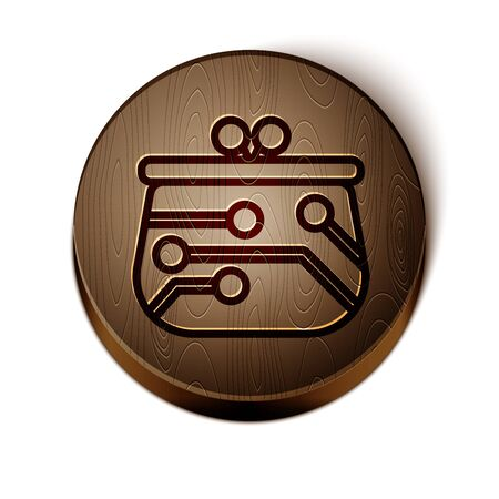 Brown line Cryptocurrency wallet icon isolated on white background. Wallet and bitcoin sign. Mining concept. Money, payment, cash, pay icon. Wooden circle button. Vector Illustration 일러스트