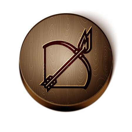 Brown line Bow and fire arrow icon isolated on white background. Wooden circle button. Vector Illustration Illusztráció