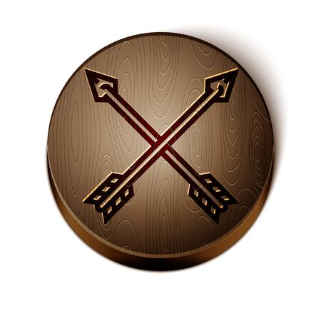 Brown line Crossed arrows icon isolated on white background. Wooden circle button. Vector Illustration Illusztráció