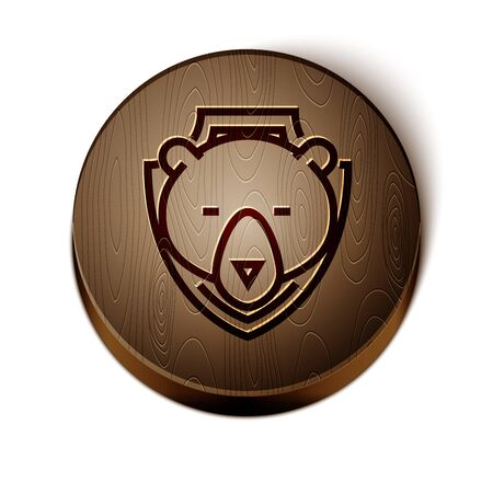 Brown line Bear head on shield icon isolated on white background. Hunting trophy on wall. Wooden circle button. Vector Illustration Illusztráció