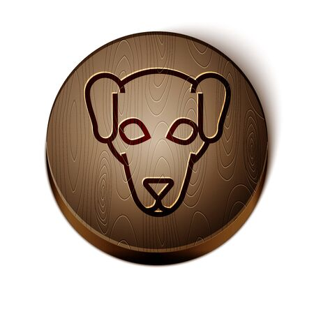 Brown line Hunting dog icon isolated on white background. Wooden circle button. Vector Illustration