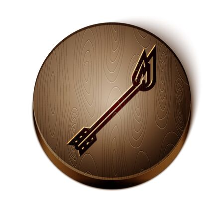 Brown line Flame arrow icon isolated on white background. Hipster arrow icon. Wooden circle button. Vector Illustration Illusztráció
