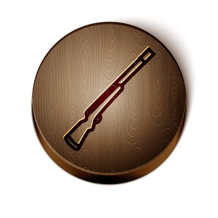 Brown line Hunting gun icon isolated on white background. Hunting shotgun. Wooden circle button. Vector Illustration Illusztráció