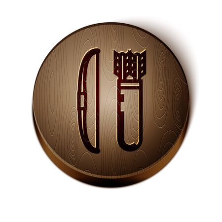 Brown line Bow and arrow in quiver icon isolated on white background. Wooden circle button. Vector Illustration Illusztráció