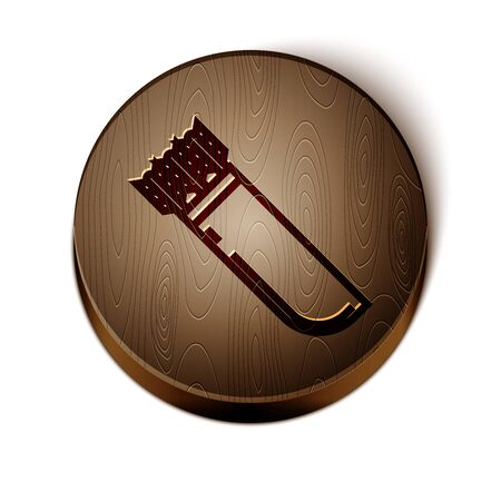 Brown line Quiver with arrows icon isolated on white background. Wooden circle button. Vector Illustration