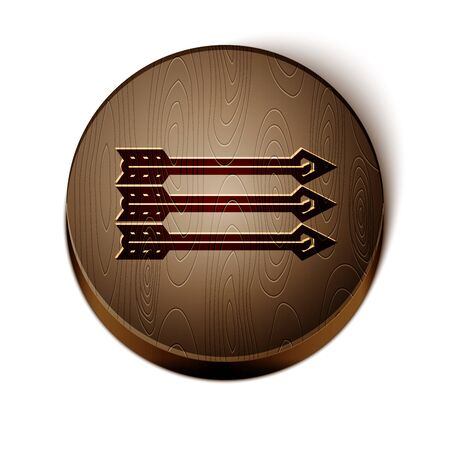 Brown line Hipster arrows icon isolated on white background. Wooden circle button. Vector Illustration Illusztráció