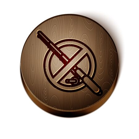 Brown line No fishing icon isolated on white background. Prohibition sign. Wooden circle button. Vector Illustration  イラスト・ベクター素材