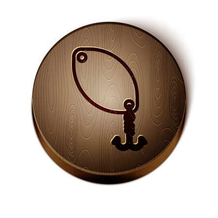 Brown line Fishing spoon icon isolated on white background. Fishing baits in shape of fish. Fishing tackle. Wooden circle button. Vector Illustration  イラスト・ベクター素材