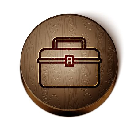 Brown line Case or box container for wobbler and gear fishing equipment icon isolated on white background. Fishing tackle. Wooden circle button. Vector Illustration Ilustração