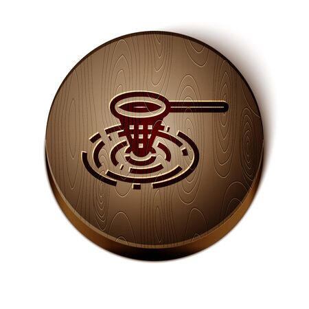 Brown line Fishing net in water icon isolated on white background. Fishing tackle. Wooden circle button. Vector Illustration