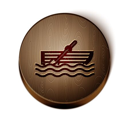 Brown line Fishing boat with oars on water icon isolated on white background. Wooden circle button. Vector Illustration