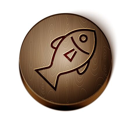 Brown line Fish icon isolated on white background. Wooden circle button. Vector Illustration