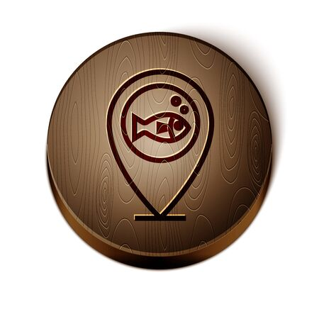 Brown line Location fishing icon isolated on white background. Fishing place. Wooden circle button. Vector Illustration  イラスト・ベクター素材