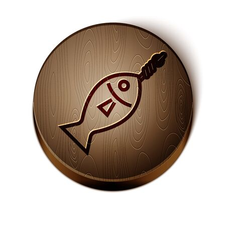 Brown line Fish on hook icon isolated on white background. Wooden circle button. Vector Illustration