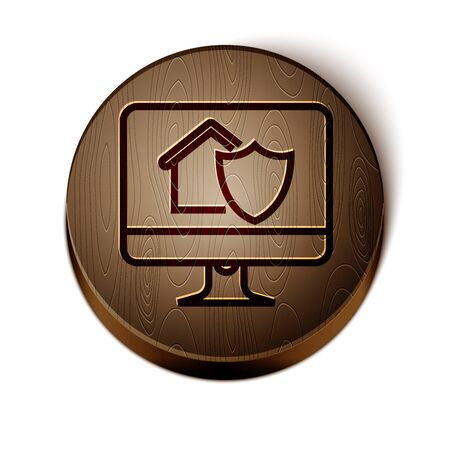 Brown line Computer monitor with house under protection icon isolated on white background. Protection, safety, security, protect, defense concept. Wooden circle button. Vector Illustration