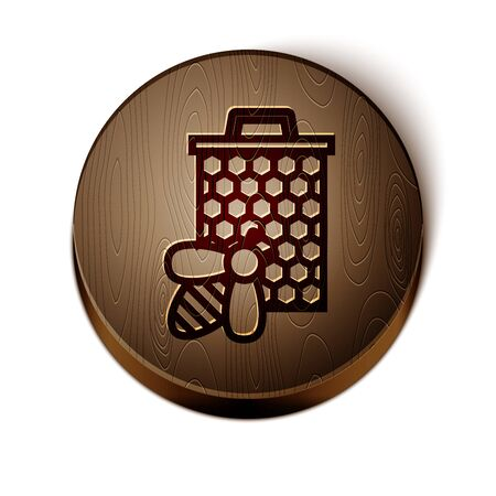 Brown line Bee and honeycomb icon isolated on white background. Honey cells. Sweet natural food. Honeybee or apis with wings symbol. Flying insect. Wooden circle button. Vector Illustration Ilustração