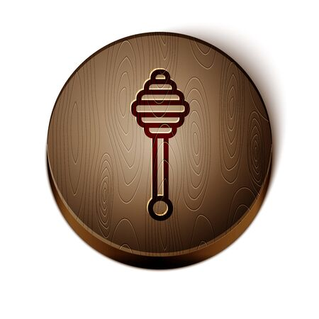 Brown line Honey dipper stick icon isolated on white background. Honey ladle. Wooden circle button. Vector Illustration Иллюстрация