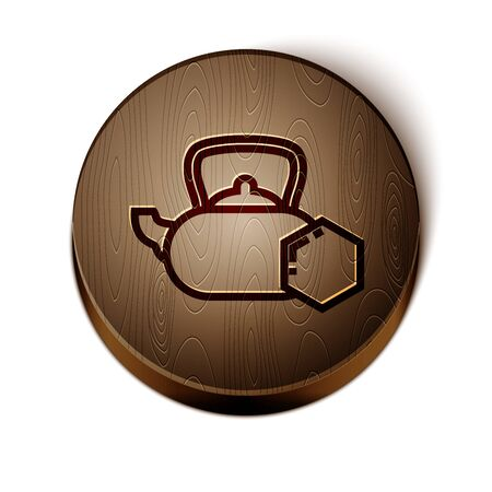 Brown line Tea kettle with honey icon isolated on white background. Sweet natural food. Wooden circle button. Vector Illustration