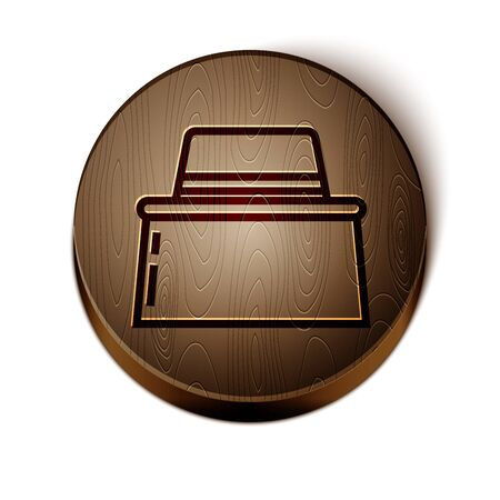 Brown line Beekeeper with protect hat icon isolated on white background. Special protective uniform. Wooden circle button. Vector Illustration 向量圖像