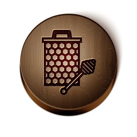 Brown line Honeycomb with honey dipper stickicon isolated on white background. Honey ladle. Honey cells symbol. Sweet natural food. Wooden circle button. Vector Illustration