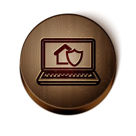 Brown line Laptop with house under protection icon isolated on white background. Protection, safety, security, protect, defense concept. Wooden circle button. Vector Illustration