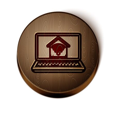 Brown line Laptop with smart home with wifi icon isolated on white background. Remote control. Wooden circle button. Vector Illustration Ilustrace