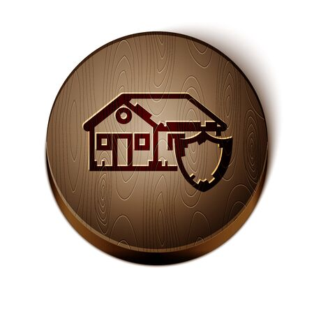 Brown line House under protection icon isolated on white background. Protection, safety, security, protect, defense concept. Wooden circle button. Vector Illustration 向量圖像