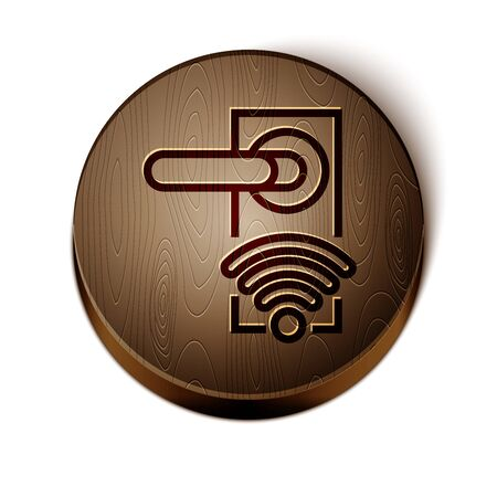 Brown line Digital door lock with wireless technology for unlock icon isolated on white background. Door handle sign. Security smart home. Wooden circle button. Vector Illustration