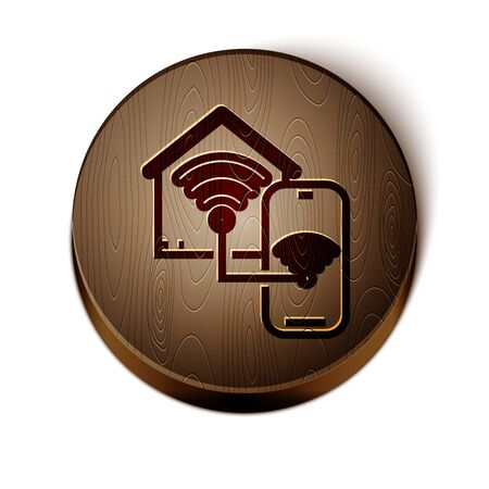 Brown line Smart home with wifi icon isolated on white background. Remote control. Wooden circle button. Vector Illustration Ilustrace